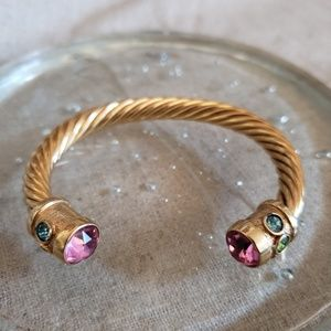 Brass Gold Plated Glass Rhinestone Cable Bracelet